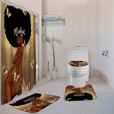 4 Pcs African American Women Shower Curtain Bath Rug Sets Toilet Cover Bath Mat Set Bathroom Accessories Curtains With Hooks Girl Bathroom Decor, Bathroom Shower Curtain Sets, Fabric Shower Curtains, Bathroom Sets, Parisian Bathroom, Bathroom Canvas, Bath Decor, Bathroom Designs, African Shower Curtain
