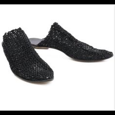"""Cydwoq Orient in Black Knit 39.5 FLASH SALE """"Handmade in California. A wearable work of art, this slip-on mule sexy, Moroccan inspired slipper design! Woven natural leather, the process to create this beauty is labor intensive, but the result is well worth it! Rubber under the heel keeps your footing sure. Leather sole and arch support is a bonus too. Slip on and be beautiful right out the door! """". Worn once! Comes with original box and dust bag. Anthropologie Shoes Mules & Clogs"""