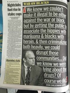 Twitter user @3rdEyePlug. War on drugs interchangeable with war on Blacks.