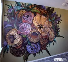 the most beautiful flower mural I've EVER seen .and I have an entire board dedicated to gorgeous mural art - it's THAT GOOD! Murals Street Art, Street Art Graffiti, Mural Art, Art Art, Wall Murals, Flower Mural, Flower Art, Flower Graffiti, Art Flowers