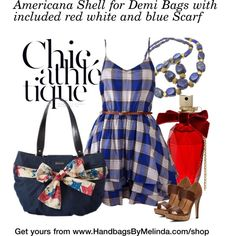 Americana Shell for #Miche Demi Bags with included red white and blue Scarf $39.95