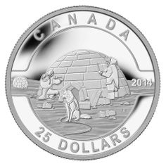 Canada 25 Dollars Silver Coin 2014 The Igloo O Canada series The first 1 oz. silver coin in the Royal Canadian Mint's O Canada ser. Coining, Glitter Balloons, Canadian Coins, Gold Money, Gold Stock, Gold And Silver Coins, Mint Coins, O Canada, Coins For Sale