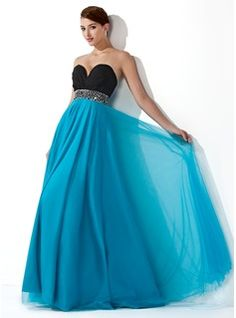 Empire Sweetheart Floor-Length Chiffon Tulle Prom Dress With Ruffle Beading Sequins (018004900) - JJsHouse