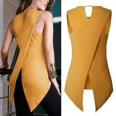 Details about Fashion Women's Lady Summer shirt Sleeveless Slim Blouse Casual Tops T-Shirt Trendy Clothes For Women, Summer Dresses For Women, Blouse Styles, Blouse Designs, Look Fashion, Fashion Outfits, Womens Fashion, Fashion Blouses, Pantalon Large