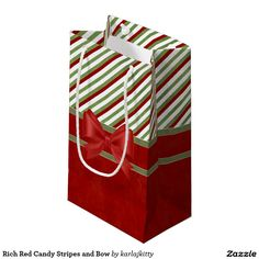 Rich Red Candy Stripes and Bow Small Gift Bag