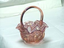 "L.E. SMITH VTG. CARNIVAL GLASS PINK LILAC BASKET 8"" PERFECT WITH NO BLEMISHES"