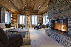 rustic-modern norwegian log cabin love the fireplace Mountain Cabin Decor, Winter House, Winter Cabin, Log Cabin Homes, Cabins And Cottages, Great Rooms, My Dream Home, Future House, Ideal Home