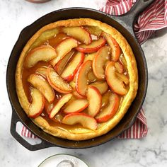 "Apple-Honey Dutch Baby Recipe -Kathy Fleming from Lisle, Illinois says, ""I love to make this treat on Sunday morning. It's so impressive when it's served warm right out of the oven.and the honey and apple filling is yummy! Fall Breakfast, Breakfast Dishes, Breakfast Recipes, Breakfast Ideas, Brunch Ideas, Breakfast Quiche, Breakfast Burritos, Brunch Recipes, Baby Food Recipes"