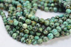 "15/"" Strand 8mm Genuine Semi Precious African Turquoise Round Gemstone Beads"