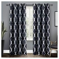 Exclusive Home Ironwork Sateen Woven Room Darkening Window Curtain Panel Pair - Exclusive Home. Blue draperies to bring out the blue décor or to add a pop of color in the space. #bluedecor #bluedrapes #homedecoration #funkthishouse