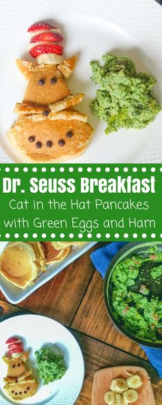 Dr. Seuss Breakfast Recipes: This Cat in the Hat pancake recipe and Green Eggs and Ham recipe are the perfect choice for Dr. Seuss themed food to celebrate a love of reading. #catinthehat #greeneggsandham #drseuss  via @amindfullmom