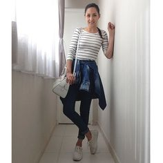 high waist jeans, stripes