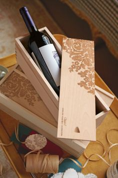Engraved Wine Boxes from Soft Surroundings Laser Cutter Ideas, Laser Cutter Projects, Cnc Projects, Wooden Wine Boxes, Wooden Gifts, Wood Boxes, Custom Engraving, Laser Engraving, Engraving Ideas
