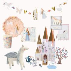 Kids love an imaginative world with magical castles, princesses, knights, unicorns and flying horses. So, we've created a special princess party in a box to cheer them up up during these stay at home times. The box contains everything you need for a fabulous fun princess party and you'll get a free Chloe Pegasus toy too! She's beautifully crafted from knitted organic cotton with sweet stitched features, perfect for cuddles and play | Meri Meri Tea Party Birthday, Mermaid Birthday, Unicorn Birthday Parties, Unicorn Party, 4th Birthday, Princess Centerpieces, Princess Party Decorations, Kids Party Themes, Party Ideas