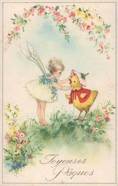 Vintage Easter Card - (fairy, blossoms, chick) -Illustratie Hannes Petersen