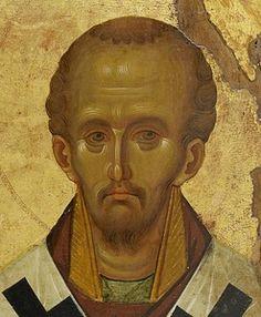 вятитель Иоанн Златоуст. Византийская икона в монастыре Ватопед на Афоне. Монастырь Ватопед на Святой Горе Афон.