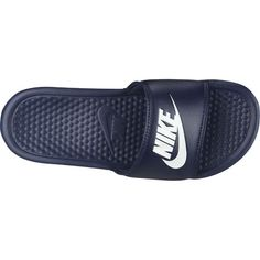 The Nike™ Men's Benassi Just Do It Sports Slides feature synthetic leather strap uppers and a herringbone pattern on the outsoles. Soccer Gear, Herringbone Pattern, Pool Slides, Just Do It, Nike Men, Sandals, Sports, Leather, Retail