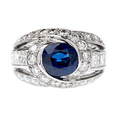 1stdibs - Blue Sapphire Diamond White Gold Designer Ring explore items from 1,700  global dealers at 1stdibs.com
