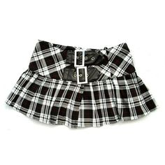 Plaid buckle mini skirt