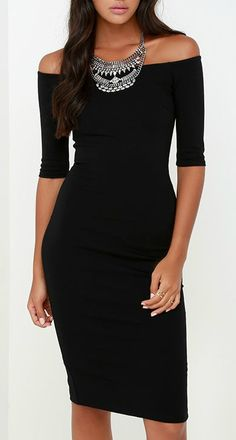 Lulus Exclusive! If being chic comes naturally, then that must be why you love the Girl Can't Help It Black Off-the-Shoulder Midi Dress! Medium-weight stretch knit offers a fitted look across an off-the-shoulder bodice with classic half sleeves. #lovelulus