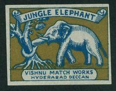 elephant matchbook label | Details about OLD INDIAN MATCHBOX LABEL – 'JUNGLE ELEPHANT'