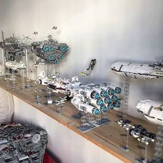The #rebel fleet from the rear. Tried to get all the ships in the frame, but the wall was in the way :) How many types of ships can you spot here? #lego #starwarsfan #starwars #legophotography #lego_hub #legostagram #legostarwars #starwarslego #milleniumfalcon