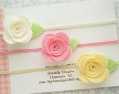 Fieltro flor diadema conjunto sentía bebé venda por MyMondaysChild