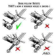 Do it right ! / Do it right ! – So it is … – sierra … – Drawing Ideas Manga Drawing, Drawing Tips, Drawing Stuff, Drawing Art, Art Reference Poses, Drawing Reference, Sword Reference, Hand Reference, Gesture Drawing