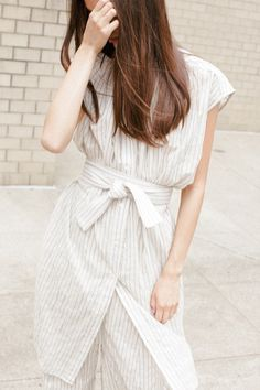 Caron Callahan Abbey Dress and Morgan pant in stripe voile