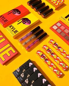 The Summer Collection by Kylie Jenner Kylie Lipstick, Kylie Makeup, Kylie Jenner Makeup Products, Mac Lipsticks, Makeup Dupes, Skin Makeup, Makeup Cosmetics, Makeup Brushes, Beauty Makeup