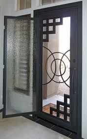 Iron Entry Doors - modern - front doors - phoenix - First Impression Security Doors.( I like this idea! Modern Entry, Modern Front Door, Front Door Design, Tor Design, Gate Design, Iron Front Door, Iron Doors, Wrought Iron Security Doors, Home Engineering