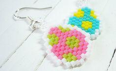 Mismatched Polka Dot Easter Eggs Earrings Beaded by BeadCrumbs