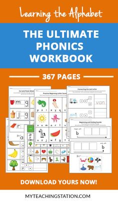 A workbook specifically designed to reinforce and practice the alphabet letter sounds along with, learning new skills that set the ultimate pre-reading foundation. Phonics Worksheets, Teacher Worksheets, Worksheets For Kids, Printable Worksheets, Learning The Alphabet, Kids Learning, English Play, Letter Sounds, Esl