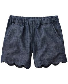Cool shorts are crafted with a scalloped edge and made from textured cotton chambray that's ultra-comfy all summer...easy to wash, too. <br>•100% textured cotton chambray <br>•Comfy encased stretch waist <br>•Front slash pockets <br>•Faux back welt pockets <br>•Scalloped hem <br>•Prewashed <br>•Imported