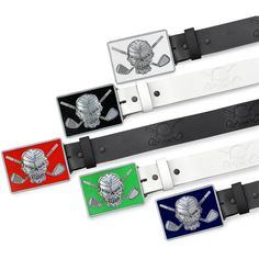 FREE SHIPPING - All leather w/ Skull design.  6 colors of High-gloss buckle.  #golf #tattoo #tattoogolf