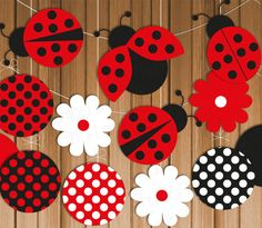 Ladybug Printable Party Banner & Hanging Decorations, Instant Download, Polka…