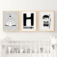 Set of 3 Boys Monochrome Tribal Nursery Prints. Shop for Personalised boys Nursery
