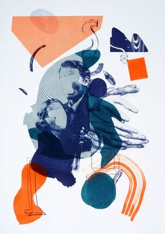 Will Harvey - Risograph print   COLLAGE   Pinterest / Contrasting Colors / Contrasting Color Palettes / Orange Teal / Geometric / Organic / Collage / Ideas / Inspiration / Digital
