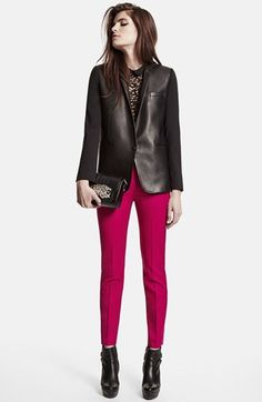 The Kooples Leather Front Wool Blazer | Nordstrom