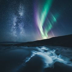 Milky Way & Aurora, Norway by Mikko Lagerstedt on Beautiful Sky, Beautiful Landscapes, Beautiful Pictures, Aurora Borealis, Cosmos, To Infinity And Beyond, Photo Instagram, Milky Way, Landscape Photos