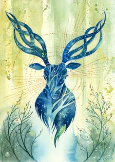 For my fellow Dragon Age fans, this is my attempt at painting a halla. For anyone else, this is a fancy deer! And for everyone, this was me testing a new paper, Canson Vidalon. Watercolor, go...