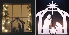 Manger Silhouette | ... Holiday Window Decor , Nativity Window Cling , Window Nativity Scene
