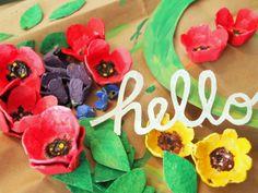 Pink Stripey Socks: DIY Egg carton wreath