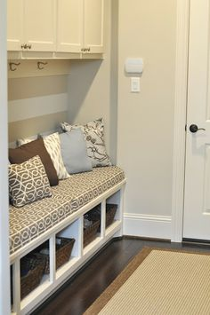 Honey We're Home: Our Mudroom Gets an Update (Envelope Pillows)