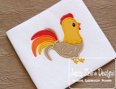 Bordado de Applique gallo pollo diseño  gallo apliques de
