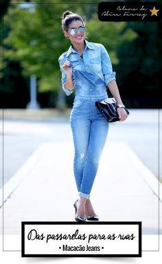 Das passarelas para as ruas: macacão jeans