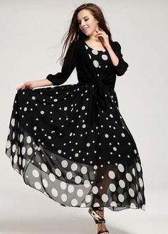 Black and White Polka Dot Maxi, Love the flow!