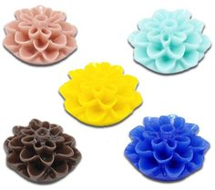 100 Mixed Resin Flower Embellishments Jewelry Making B13312
