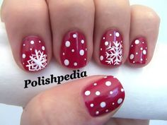 Snowflake nail art on red Holiday Nail Art, Winter Nail Art, Christmas Nail Designs, Christmas Nail Art, Winter Nails, Christmas Fun, Christmas Snowflakes, Beautiful Christmas, White Christmas