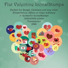 In this collection you find 31 different cute flat Valentine's day icons.  The icons are huge 3000×3000 pixels large and suitable for any February 14th Valentine's day material, such as cards, posters, emails, videos etc.  The icons are in transparent PNG format and can be used in used in Snagit, Camtasia, Word, Powerpoint, Excel and most other graphics, office and video software, just by dragging-and-dropping them into the application.